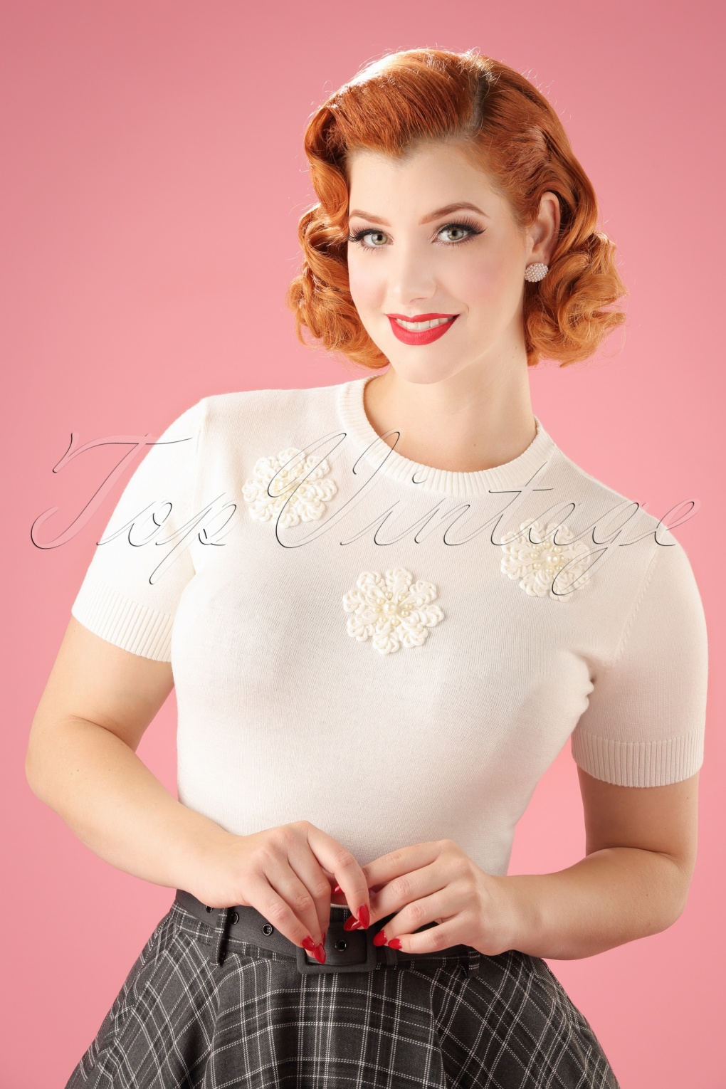 Vintage Sweaters: Cable Knit, Fair Isle Cardigans & Sweaters 50s Joyanne Snowflake Sweater in White £33.64 AT vintagedancer.com