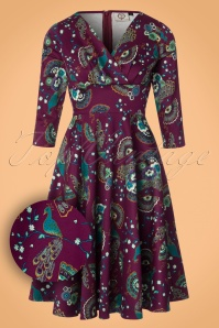 50s Frankie Peacock Swing Dress in Purple