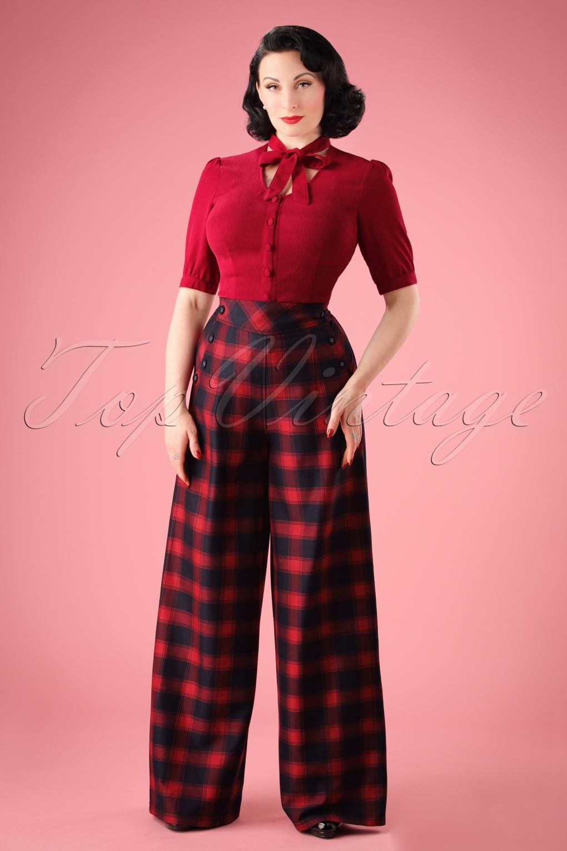 1950s Pants & Jeans- High Waist, Wide Leg, Capri, Pedal Pushers 40s Rita Tartan Trousers in Red £40.41 AT vintagedancer.com