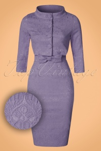 60s Maybelle Jacquard Twin Set in Amethyst