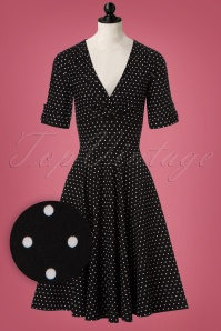 Unique Vintage Black and White Polkadot Swing Dress 102 14 20002 20161003 0003wvdoll