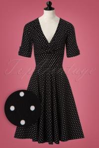 Unique Vintage Black and White Polkadot Swing Dress 102 14 20002 20161003 0003wvdoll