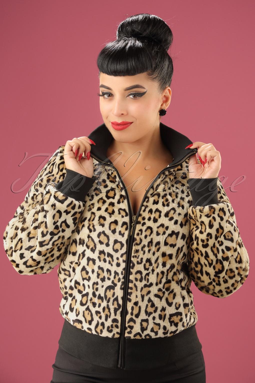 Retro Vintage Style Coats, Jackets, Fur Stoles 60s Rib Collar Fur Jacket in Leopard £123.51 AT vintagedancer.com