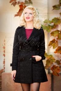 50s Susan Jacquard Trenchcoat in Black