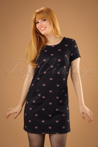 60s Mini Cat Tunic Dress in Black