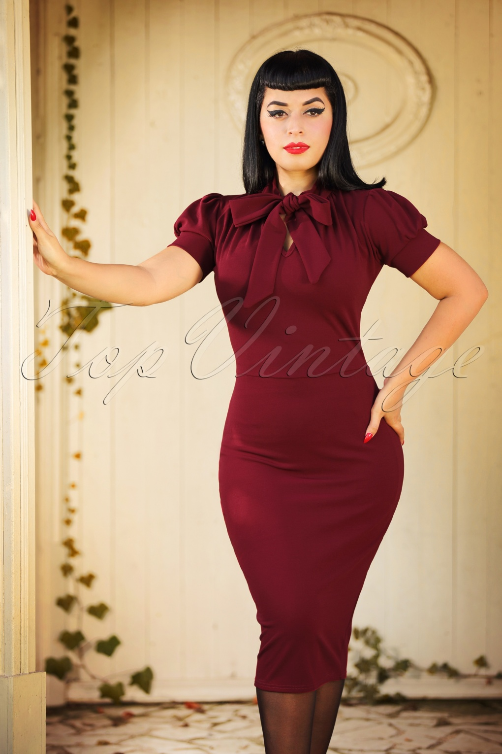 1960s Evening Dresses, Bridesmaids, Mothers Gowns 50s Bonnie Tie Neck Pencil Dress in Wine £39.96 AT vintagedancer.com