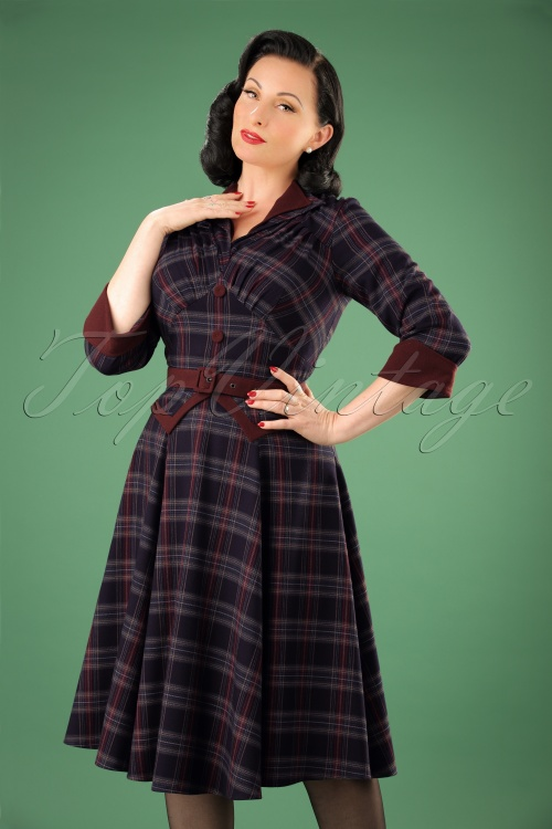 Miss Candyfloss Navy Wine Checked Swing Dress 102 39 22143 20170816 0023W