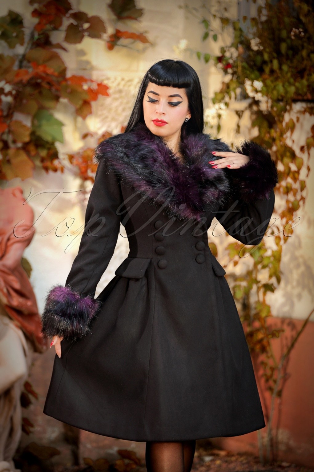 1950s Jackets, Coats, Bolero | Swing, Pin Up, Rockabilly 50s Rock Noir Coat in Black and Purple £107.75 AT vintagedancer.com