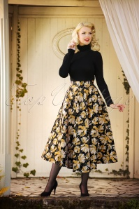 70s She Came She Conquered Midi Skirt in Black and Yellow