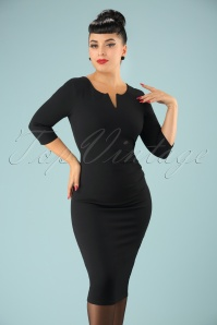 Shelia Pencil Dress Années 1950 en Noir