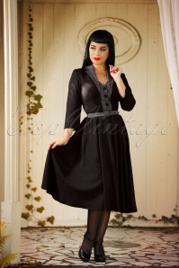 40s Timea Lou Suit Swing Dress in Black