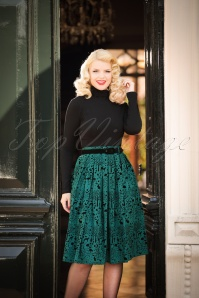 50s Sherwood Skirt in Petrol Green