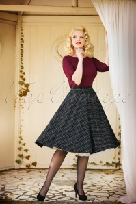 50s Peebles Tartan Swing Skirt in Green