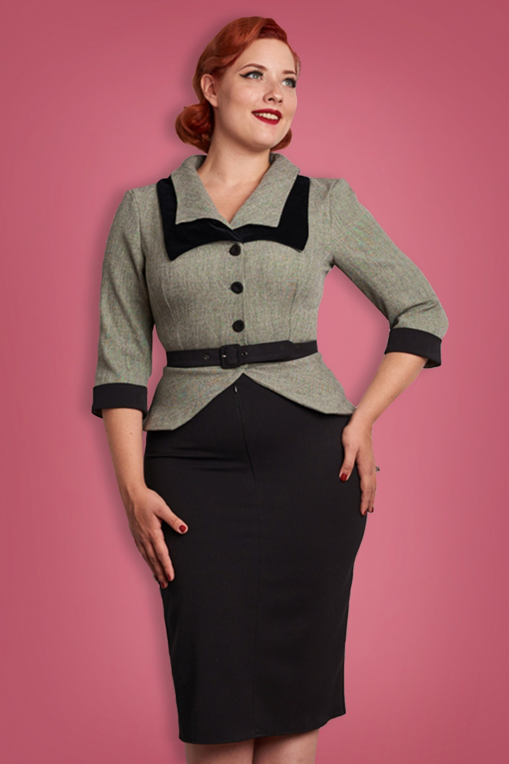 40s Zoey Gia Pencil Dress In Black And Grey
