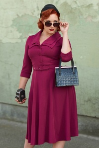 40s Tiara Swing Dress in Raspberry