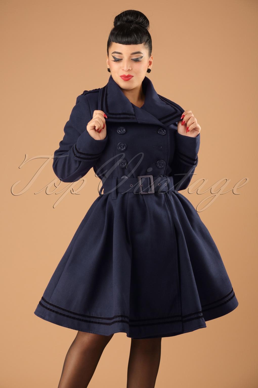Retro Vintage Style Coats, Jackets, Fur Stoles 50s Millie Swing Winter Coat in Navy £88.00 AT vintagedancer.com