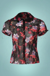 50s Liliana Floral Blouse in Black