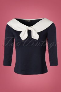 TopVintage exclusive ~ 50s Betsy Tie Top in Navy and Cream