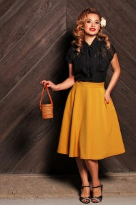 Steady Clothing Beverly High Waist Swing Skirt Années 50 en Moutarde
