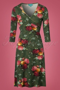 LaLamour Classic Cross Dress in Green Rose Print 106 49 22310 20170914 0008W