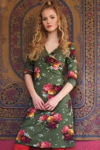 LaLamour Classic Cross Dress in Green Rose Print 106 49 22310 20170914 01