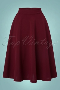 50s Beverly High Waist Swing Skirt in Burgundy