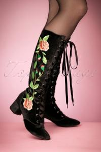 30s Sasha Floral Lace-Up Boots in Black Velvet