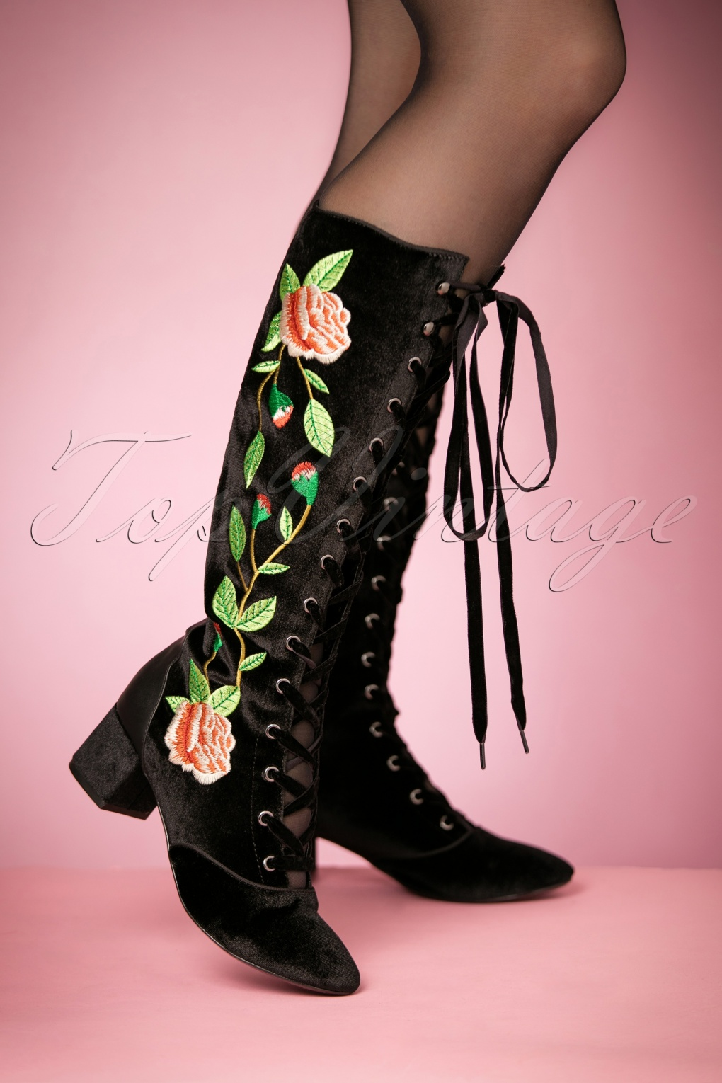 Vintage Style Shoes, Vintage Inspired Shoes 30s Sasha Floral Lace-Up Boots in Black Velvet £126.28 AT vintagedancer.com