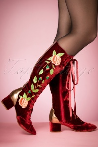 30s Sasha Floral Lace-Up Boots in Rusty Red Velvet
