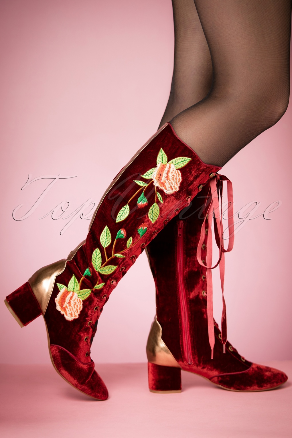 Vintage Style Boots, Retro Boots, Granny Boots, Fur Top Boots 30s Sasha Floral Lace-Up Boots in Rusty Red Velvet £126.28 AT vintagedancer.com
