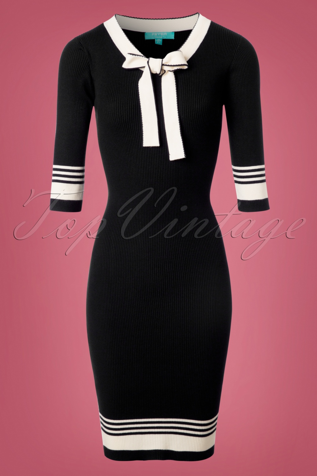 Sailor Dresses, Nautical Dress, Pin Up & WW2 Dresses 50s Leon Knitted Pencil Dress in Black and White £75.43 AT vintagedancer.com
