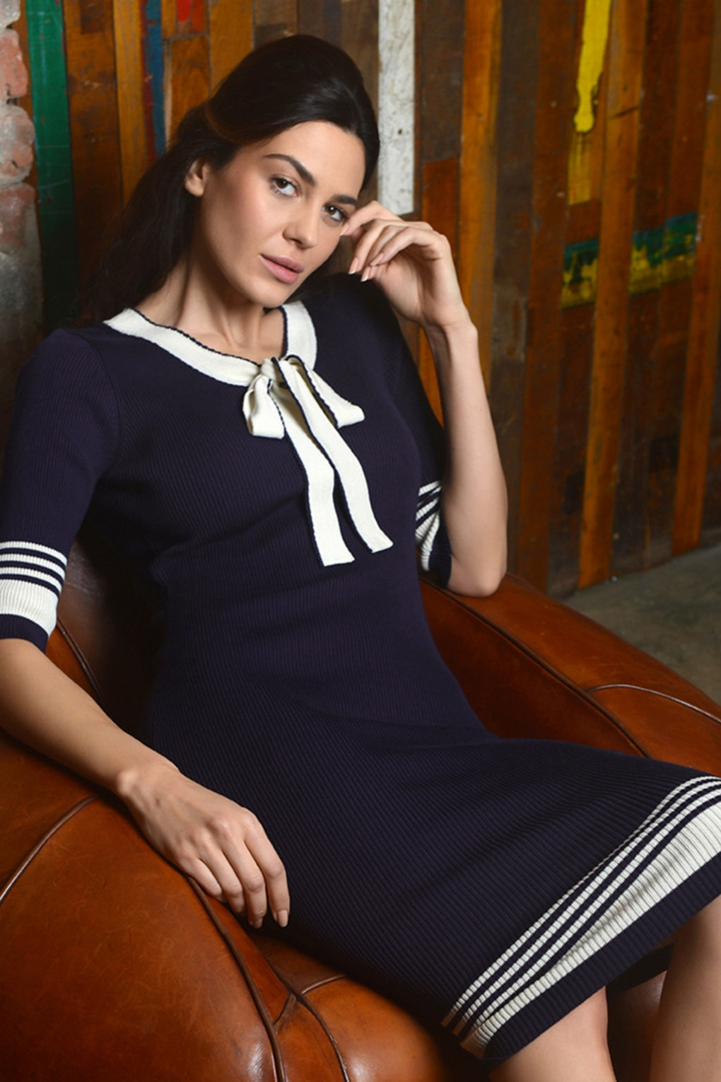 Sailor Dresses, Nautical Dress, Pin Up & WW2 Dresses 50s Leon Knitted Pencil Dress in Navy and White £75.43 AT vintagedancer.com
