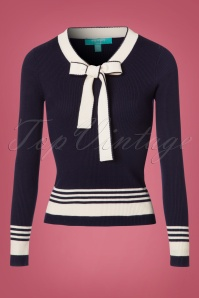 50s Leon Knitted Top in Navy and White
