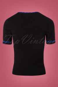 Fever Mary Knit Top in Black and Sapphire 113 10 22183 20170913 0006W