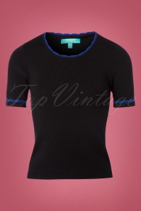 Fever Mary Knit Top in Black and Sapphire 113 10 22183 20170913 0001W
