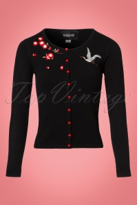 Collectif Clothing 50s Kiki Crane and Blossom Cardigan in Black 21770 20170609 0006W