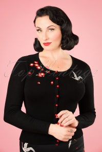 50s Kiki Crane and Blossom Cardigan in Black