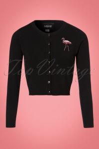 Collectif Clothing Jessie Winter Flamingo Cardigan in Black 21810 20170607 0004W