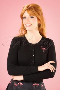 Collectif Clothing Jessie Winter Flamingo Cardigan in Black 21810 20170607 0001W