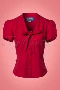 Collectif Clothing Tura Plain Blouse in Red 21960 20170609 0002w