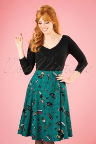 Collectif Clothing Tanya Vegas Vamp Swing Skirt in Teal 21904 20170606 001W