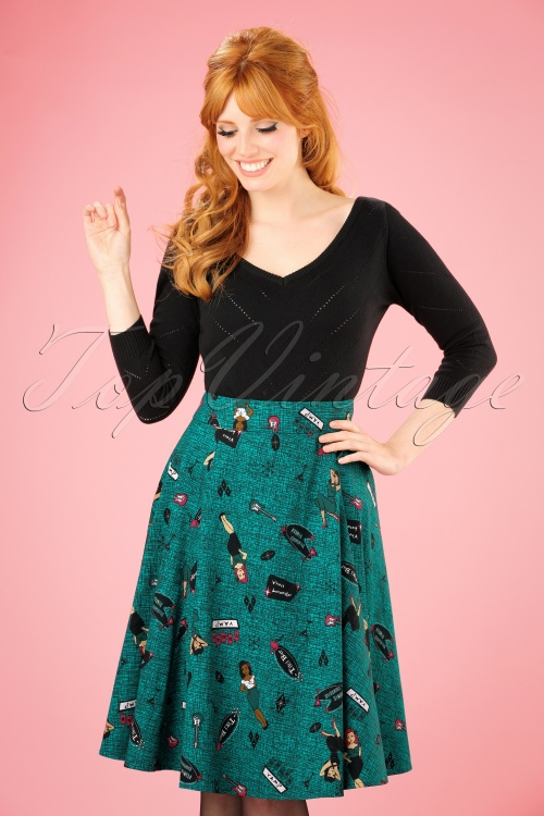 Collectif Clothing Tanya Vegas Vamp Swing Skirt in Teal 21904 20170606 001W