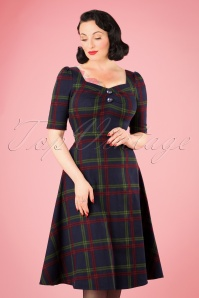 50s Dolores H/S Darling Check Doll Dress in Navy