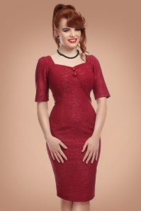 Collectif Clothing Dolores Half Sleeve Retro Pencil Dress in Red 21979 20170614 0005