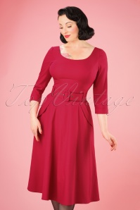50s Ivy Crêpe Swing Dress in Red