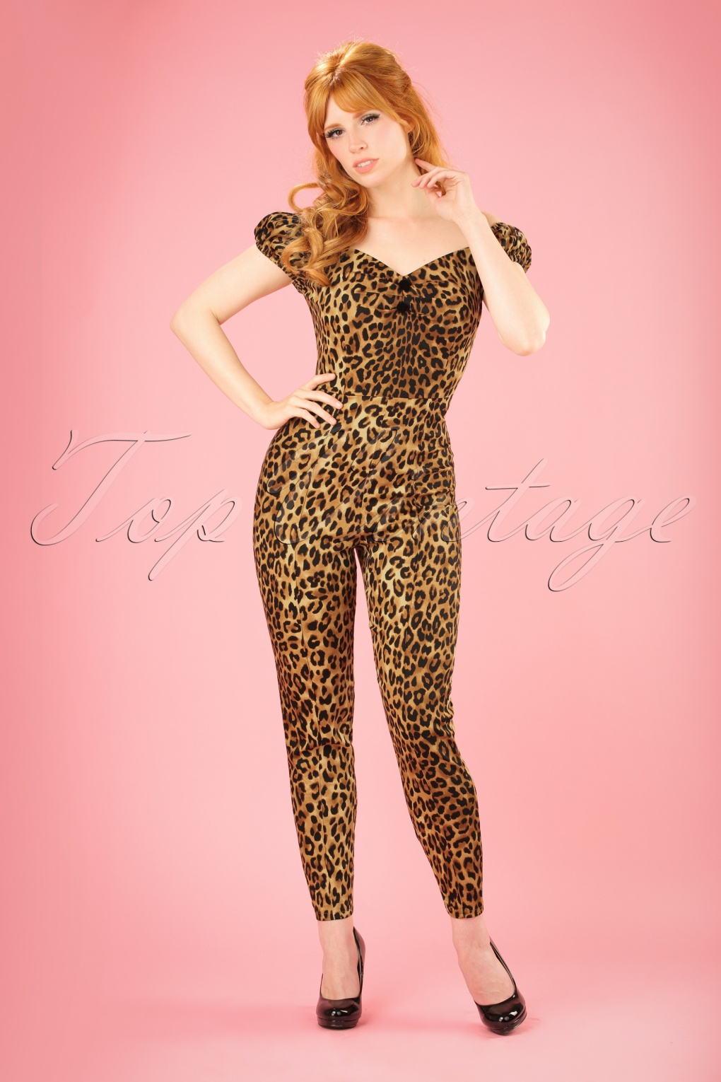 Vintage High Waisted Trousers, Sailor Pants, Jeans 50s Dolores Leopard Print Jumpsuit £53.90 AT vintagedancer.com