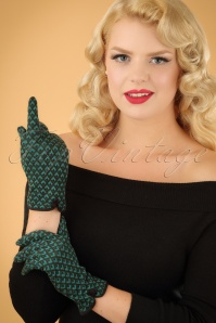 60s Sunset Gloves in Forest Green