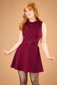 Bright and Beautiful Ruth Plain Flared Tweed Dress in Burgundy 21680 20170612 0010w