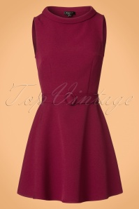 Bright and Beautiful Ruth Plain Flared Tweed Dress in Burgundy 21680 20170612 0004w