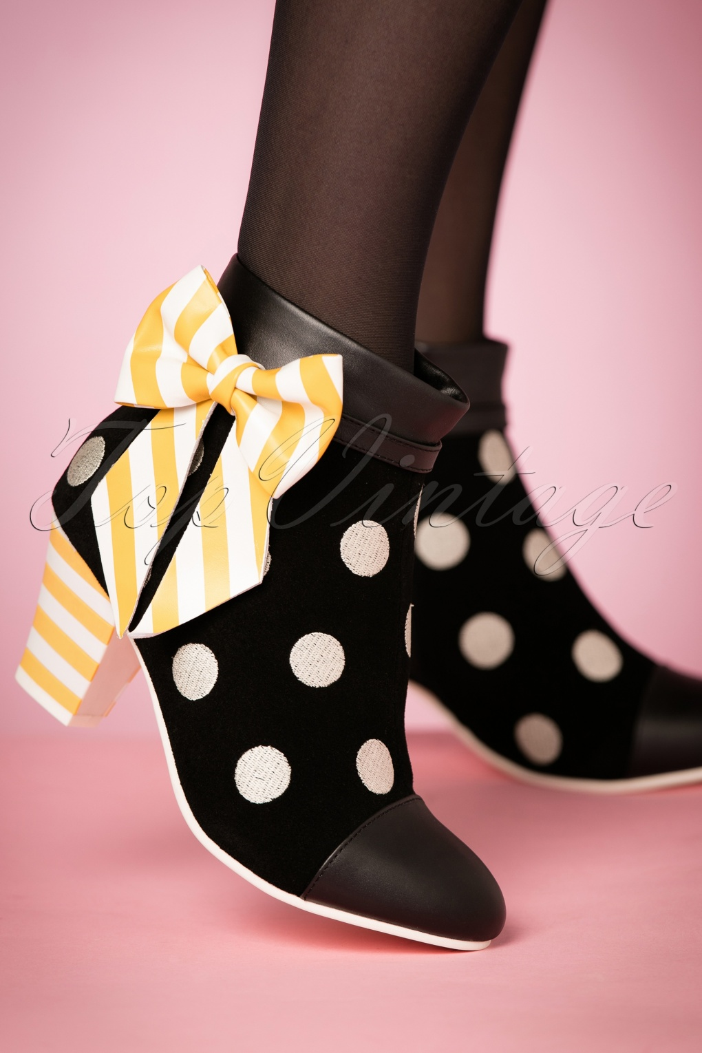1960s Inspired Fashion: Recreate the Look 60s Elsie Devotion Polkadot Bootie in Black £176.46 AT vintagedancer.com